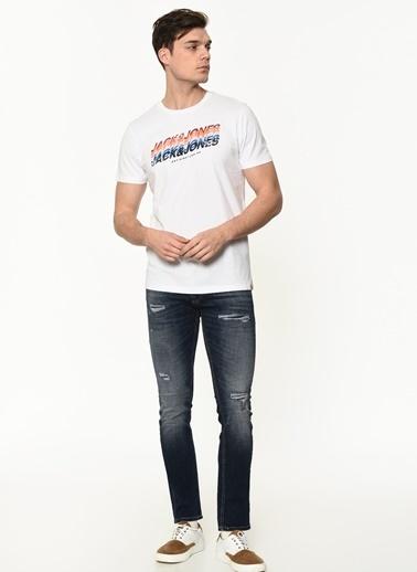 Jack & Jones Jack&Jones Erkek Baskılı T Shirt 12186212 Beyaz